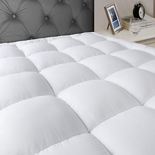 JEAREY Queen Mattress Pad Cover Stretches up 8-21' Deep Pocket - Cooling Overfilled Quilted Fitted Mattress Topper Pillowtop with Snow Down Alternative