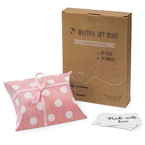 Plantvibes 24 wunderschöne Geschenkschachteln aus Papier inkl. 24 Karten & Schleifen in pink, DIY Geschenkboxen Set für Geburtstage, Hochzeiten, Partys, als Gastgeschenk oder Verpackung