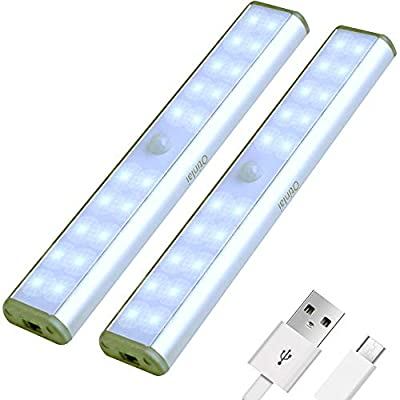 Under Cabinet Lights, 20 LED Motion Sensor Lights, Night Light,Led Battery Lights,Motion Led Light Bar, USB Rechargeable Magnet LED Lights Stick on Anywhere Otinlai (Silver 20 LED 2 Pack)