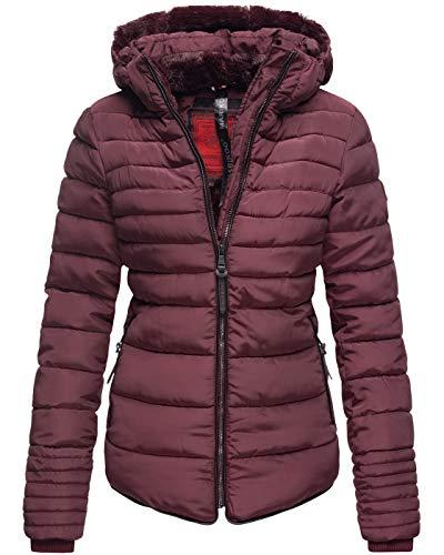 Marikoo Damen Winter Jacke Steppjacke Stehkragen Teddyfell warm gefüttert B354 [B354-Amber-Weinrot-Gr.S]