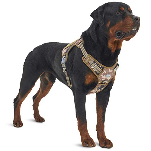 Auroth Tactical Dog Training Harness No Pulling Front Clip Leash Adhesion Reflective K9 Pet Working Vest Easy Control for Small Medium Large Dogs Desert Camo L