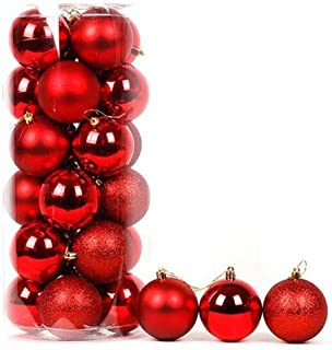 Evisha 24 pcs Red Christmas X-Mass Tree Decoration Balls Hangings Ornaments