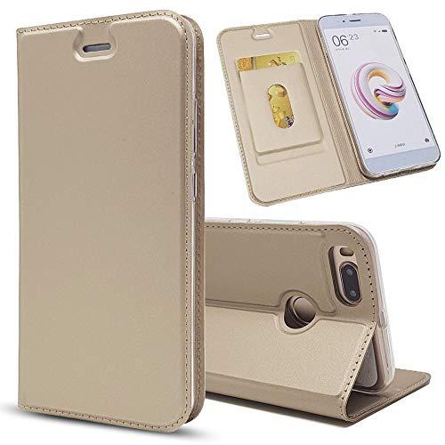 Sangrl Funda para Xiaomi Mi 5X, Libro Cuero de la PU Leather Case Soporte Plegable Premium Flip Case para Xiaomi Mi 5X - Gold