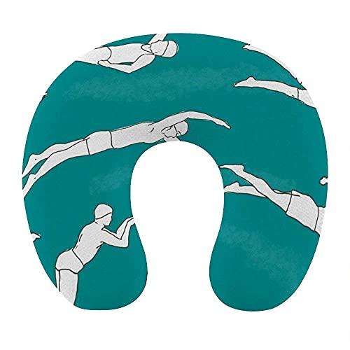 Almohada de viaje en forma de U de moda Cojín de apoyo para el descanso del cuello Almohada de descanso de viaje cómoda y transpirable para la siesta de avión / coche / oficina (nadadores verde azulad