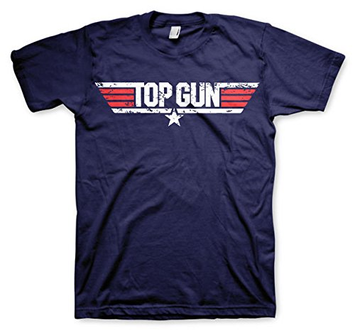 Top Gun officieel gelicenseerd product Distressed logo T-shirt (marineblauw)
