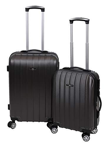 Betz 2 TLG. Reisekoffer Set Hartschalen Koffer Handgepäck Teleskop Trolley Boardcase mit TSA Schloss und Leichtlaufrollen Farbe Antharzit