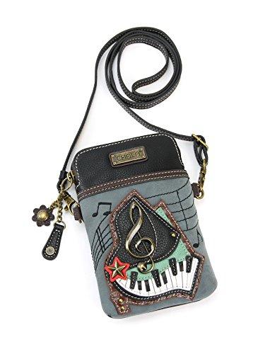 Chala Crossbody Cell Phone Purse-Women PU Leather Multicolor Handbag with Adjustable Strap - Piano Keys - Indigo