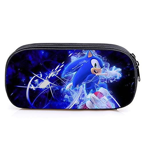 Astuccio per Matite Sonic, Hilloly 3D Matita Case, Sacchetto della Matita Sonic Big Capacità Sacchetto Della Penna Sonic The Hedgehog Astuccio Per Bambini Adolescenti Casa Scuola