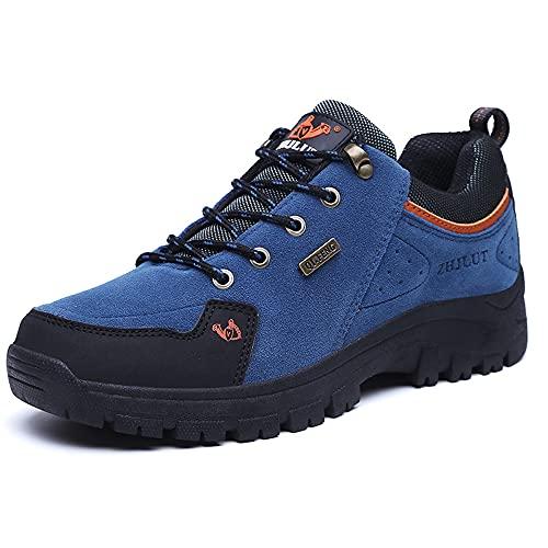 LECYGNB Scarpe da Trekking Uomo Impermeabili Scarpe da Escursionismo Leggere Antiscivolo Sportive All'aperto Scarpe da Montagna Sneakers Blu 44