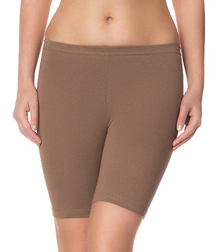 Ladeheid Damen Shorts Radlerhose Unterhose Hotpants Kurze Hose Boxershorts LAMA04 (Beige16, L/XL)