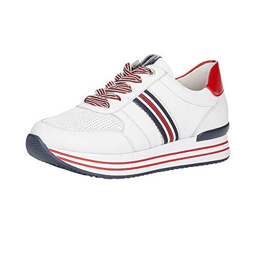 Remonte Damen Schnürhalbschuhe D1305, Frauen sportlicher Schnürer, leger Halbschuh schnürschuh strassenschuh Sneaker Wedge,hartweiss,39 EU / 6 UK