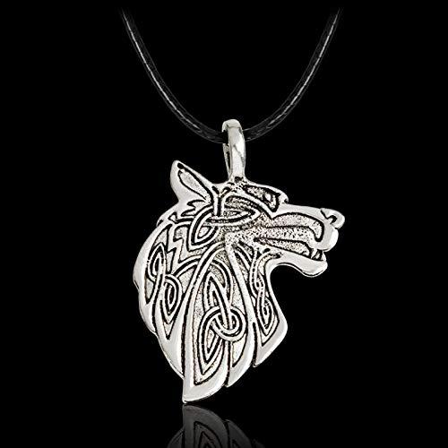 YioKpro Collar de Lobo Vikingo Grande de Moda para Hombre, joyería de Zorro Triquetra Fenrir Animal, Colgante de Nudo Celta irlandés Adolescente, Collar de Amuleto
