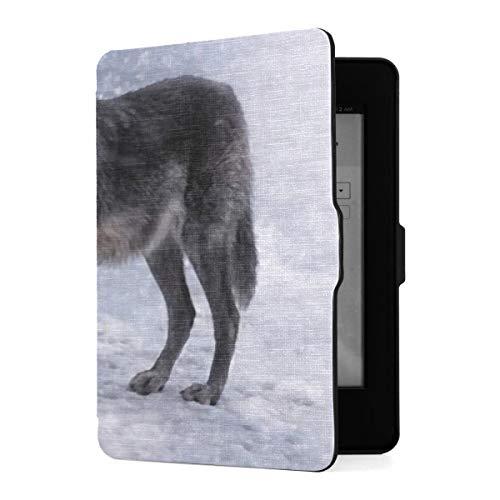 Funda para Kindle Paperwhite 1 2 3, Funda de Piel sintética para Mujer con diseño de Lobo Negro y función de Despertador automático Inteligente para Amazon Kindle Paperwhite (para Las Versiones 2012,