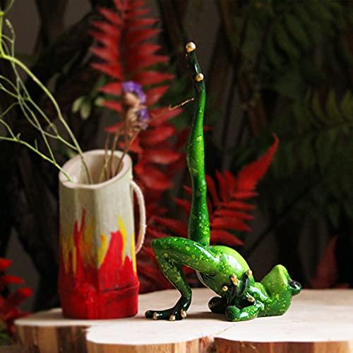 Zoomarlous Figura decorativa de rana de yoga en 3D para dormitorio, salón, jardín