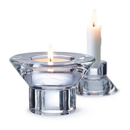 IKEA NEGLINGE Kerzen- oder Teelichthalter aus Glas; (5 cm); 2 Stück
