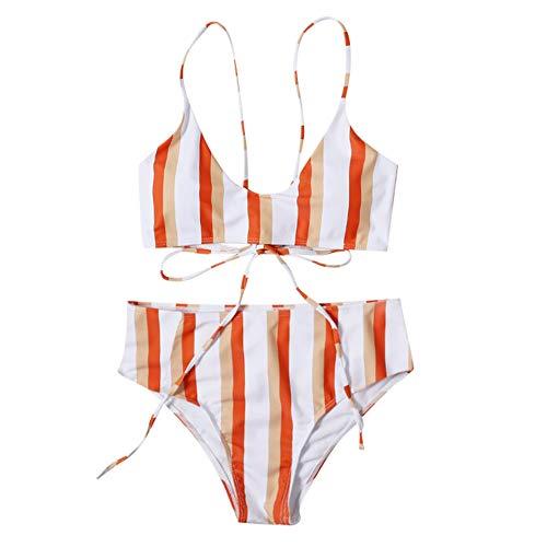 Aiserkly - Bikini push up sexy, dos piezas, con triángulo, diseño de rayas rojo L
