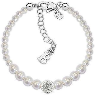 fa1aa599d011b1 Bracciale perle Swarovski degradè con centrale in resina strass bianchi