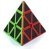 Maomaoyu Piramide Cubo 3x3 3x3x3 Profesional Pyraminx Puzzle Cubo de la Velocidad Fibra De Carbono Negro