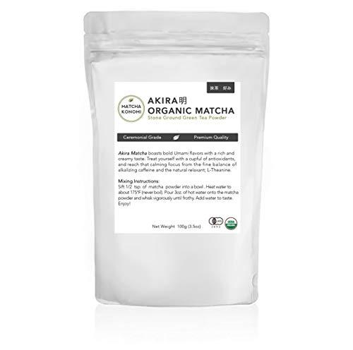 Akira Matcha 100g - Organic Premium Ceremonial Japanese Matcha Green Tea Powder - First Harvest, Radiation Free, No Additives, Zero Sugar - USDA and JAS Certified (3.5 oz bag)
