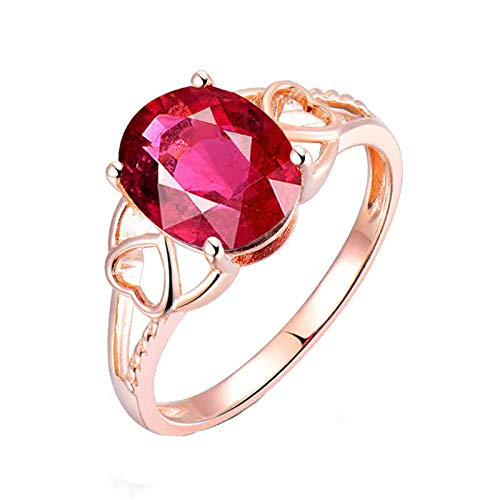 Aimsie Gold Ring, Hollow Heart 4 Claws, Oval Tourmaline 2.6 Carat Ring, Engagement Rose Gold Wedding Ring, 750 Gold, 18 K Au750 Rose Gold, Wedding Rings, Rose Gold
