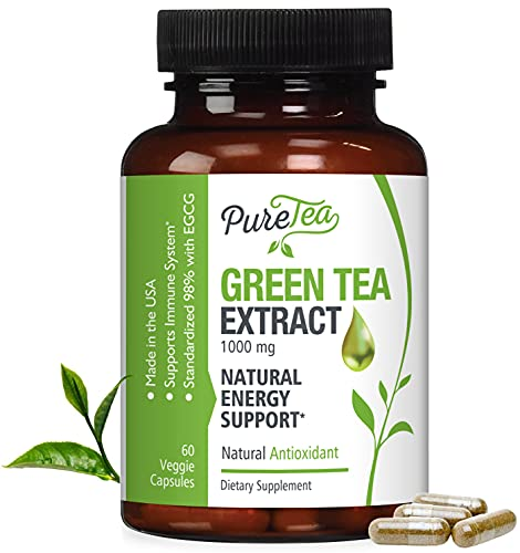 Green Tea Extract 98% 1000mg with EGCG (Non-GMO & Gluten Free) Max Potency...