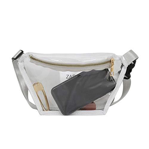 Youliy Fanny Pack, riñonera para mujer, bolsa de cintura transparente PVC Fanny Hip Packs, Deportes y estilo de ocio gris