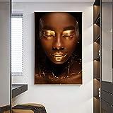 GJQFJBS Labios Dorados Hermoso Retrato de Arte Africano Negro Lienzo Pintura Carteles e Impresiones Estilo nórdico Sala de Estar Decoración Pintura A2 40x50cm