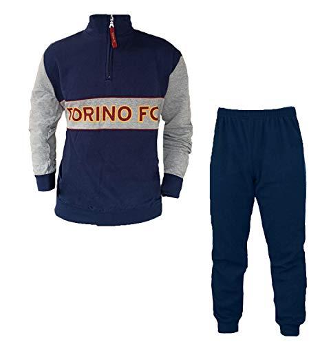 FC TORINO Pigiama Tuta Uomo in Felpa Cotone Full Zip Prodotto Ufficiale Art. TO14096 (L, Navy)