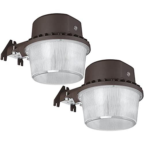 TORCHSTAR LED Barn Light, Dusk to Dawn Area Lights with Photocell, Outdoor Security Flood Lighting, ETL & DLC Listed, Wet Location, 110-277V, Garage, Farm, Yard, 5000K Daylight, Bronze, Pack of 2