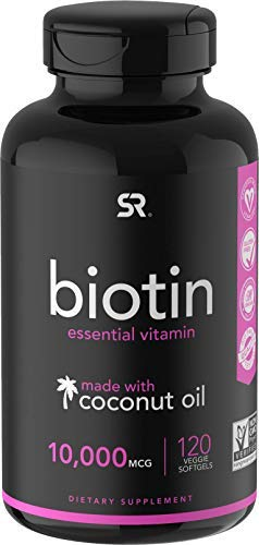 Biotin (10,000mcg) with Organic Coconut Oil   May Help Support Healthy Hair, Skin & Nails   Non-GMO Verified & Vegan Certified (120 Veggie-Softgels)