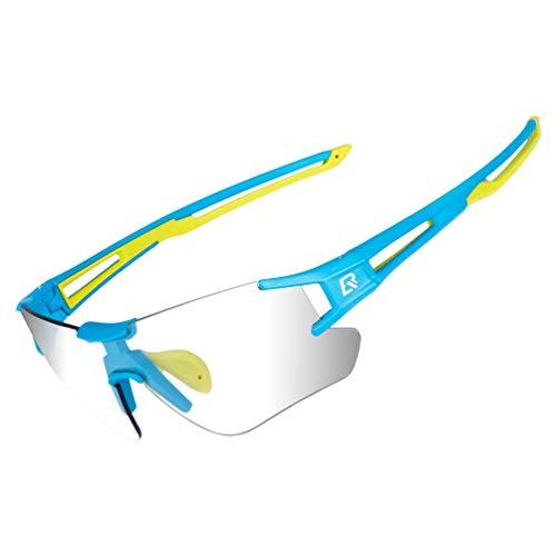 RockBros - Gafas de sol fotocromáticas para ciclismo para hombres y mujeres, gafas deportivas con protección UV (azul y verde)