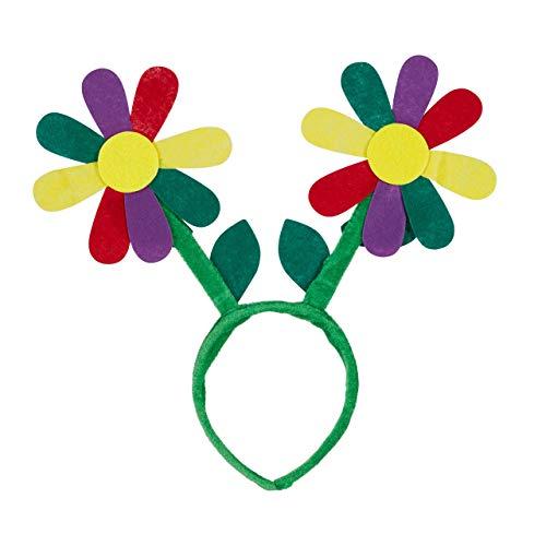 Relaxdays Cerchietto con Fiori, Copricapo, Accessori per Feste per Flower Power Hippy Costume Cerchietto per Capelli, Verde/Multicolore