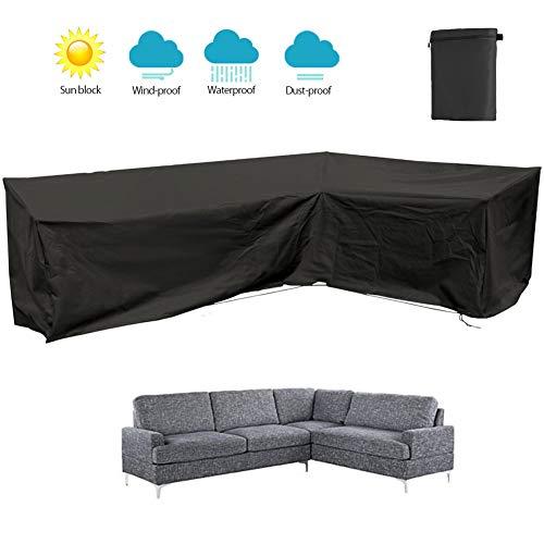 DZKU Funda de Sofá en Forma de L Funda Protectora Sofá de la Esquina Fundas Muebles Impermeable, Funda para Muebles de Jardín, para Patio Interior Exterior, Negro,Left L 222×286cm