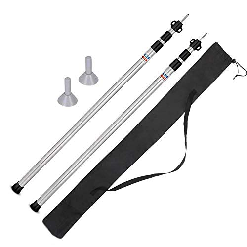 Telescoping Tarp Poles Set of 2 Adjustable Aluminum Rods for Tent Fly and Tarps,Extending Portable Collapsible for Camper Awning Tarpaulin Camping