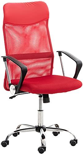 CLP Silla De Oficina Washington Tapizada En Red I Silla De Ordenador Ergonómica & con Ruedas I Silla De Escritorio Moderna I Color:, Color:Rojo