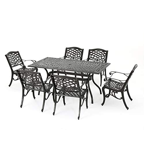 Christopher Knight Home Hallandale Outdoor Sarasota Cast Aluminum Rectangular Dining Set, 7-Pcs Set, Hammered Bronze