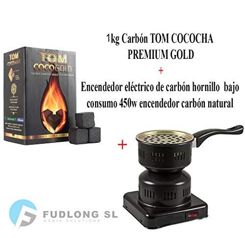 PAIDE P DIGITAL Pack 1kg CARBÓN para cachimba TOM COCOCHA Premium Gold, HORNILLO 450W Encendedor cachimba bajo Consumo