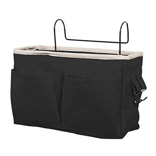 Tosbess Bett Tasche mit Drahthaken Hängetasche Hochbett Aufbewahrungstasche Bett Organizer für Buch, Magazin, Kopfhörer