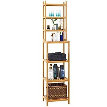 Homfa Bamboo Bathroom Shelf 7-Tier Tower Free Standing Storage Organizer Rack Multifuntional Utility Shelf Natural