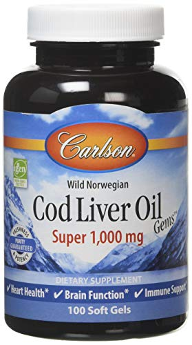 Carlson Labs Wild Norwegian Cod Liver Oil Gems, 1000mg Softgels, 100-Count