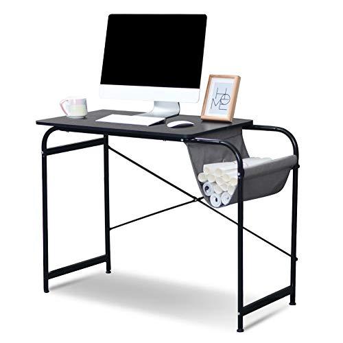 Ejoyous Mesa de Estudio Escritorio de computadora, Escritorio de computadora con Canasta de Almacenamiento de Tela Mesa de PC sólida Moderna para Trabajar Diversión de Estudio Adecuado para el(Negro)