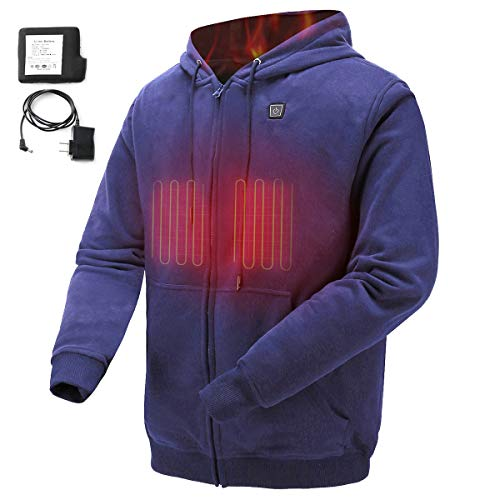 COLCHAM Heated Hoodie Soft Fleece with Battery and Charger Navy XL