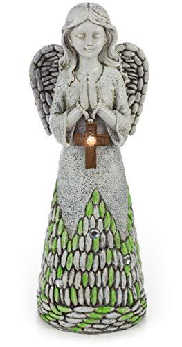 Praying Angel with Cross Solar Powered LED Outdoor Decor Garden Light