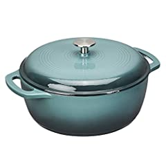 6-quart cast iron dutch oven pot for cooking and baking in the oven or on the stovetop; Oven safe up to 400 degrees Smooth enamel finish provides long-lasting durability and non-stick convenience Cast iron provides even heat distribution and retentio...