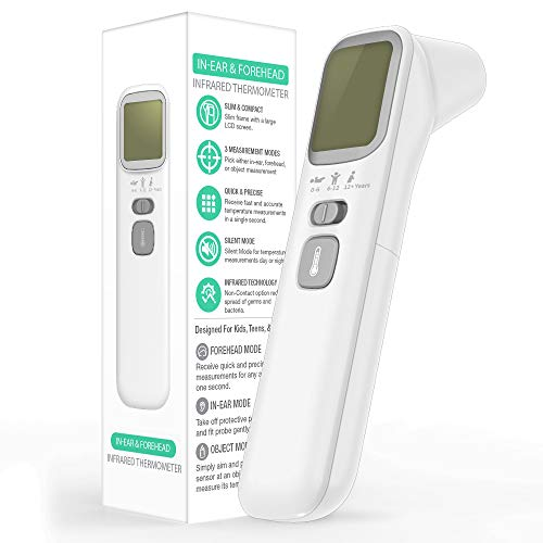 EasyEast Touchless Infrared Thermometer, Smart Forehead Thermometer, in-Ear Thermometer for Adult, Baby and Kids, Smart Digital Screen,Fast Reading Detection Thermometer,No Battery Included