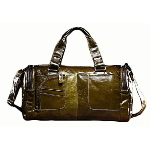 Y-hm Moda Bolso de Hombro de la Capacidad de declamación de la Moda del Viaje de la Moda de la Cera del petróleo de los Hombres Diseño Ligero (Color : Green, Size : 45 * 28 * 16cm)