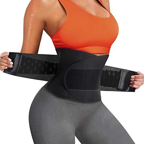 Bingrong Damen Waist Trainer Bauchweggürtel Schwitzgürtel Bauchgürtel zur Fettverbrennung Corset Taillenformer Abnehmen Bauch Weg Body Shaper Verstellbarer Fitness Gürtel (X-Large, Schwarz)