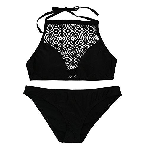 HCFKJ 2018 Lace Damen Frauen Bandage Gepolsterte BH Beach Halter Bikini Set Bademode (S, Schwarz)