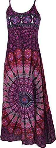 GURU SHOP Sommerkleid, Maxikleid mit Schlitz, Damen, Flieder Mandala, Synthetisch, Size:38, Lange & Midi-Kleider Alternative Bekleidung