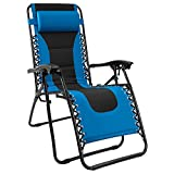 Homall Zero Gravity Patio Padded Recliner Outdoor Oversized Portable Lounge Adjustable Lawn Folding Chair with Headrest, Blue